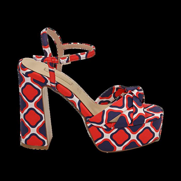 Sandali rossi in raso optical print, tacco 12 cm, Sandali con tacco, 152133401RSROSS036