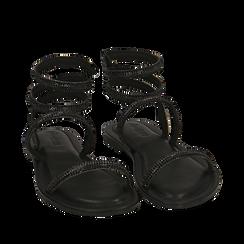 CALZATURA FLAT MICROFIBRA PIETRE NERO, Zapatos, 154928863MPNERO036, 002a