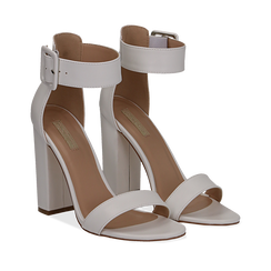 Sandali bianchi in eco-pelle, tacco colonna 10, 50 cm , Scarpe, 132760832EPBIAN035, 002a