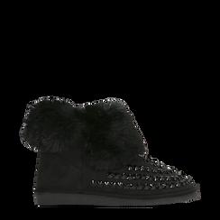 Scarponcini invernali neri con risvolto in eco-fur, Primadonna, 125001328MFNERO038, 001a
