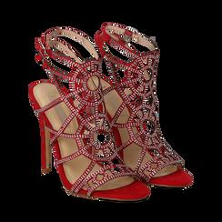 Sandali rossi in microfibra e mini-strass, tacco stiletto 12 cm, Scarpe, 132100517MPROSS035, 002a