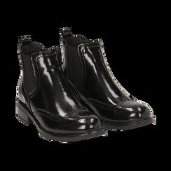 Chelsea boots neri in eco-pelle abrasivata, Stivaletti, 140618206ABNERO036, 002 preview