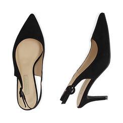 Slingback negro de microfibra, tacón 7 cm, Zapatos, 172133673MFNERO037, 003 preview