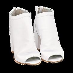 Botines open toe en vitello color blanco, tacón 9 cm, Zapatos, 15A217014VIBIAN035, 002a