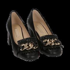 Mocassins noir en simili-cuir avec des franges et une maxi-chaîne, talon de 6 cm, Chaussures, 152186582EPNERO036, 002 preview