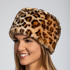 Colbacco leopard in eco-pelliccia, Saldi Abbigliamento, 12B413001FULEOP3XL, 002