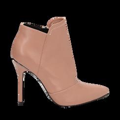 Ankle boots nude in eco-pelle, tacco 10, 50 cm , Scarpe, 142146864EPNUDE036, 001a