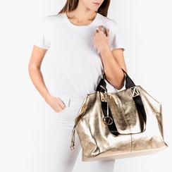 Maxi-bag oro in eco-pelle laminata, Primadonna, 152392506LMOROGUNI, 002a