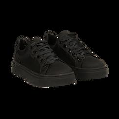Sneakers nere in tessuto, suola 4 cm,