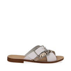 Mules bianche in vera pelle con dettagli snake skin, Saldi Estivi, 133500088PEBIAN035, 001a