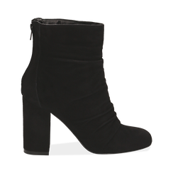 Ankle boots neri in camoscio, tacco 10 cm , Stivaletti, 14D601211CMNERO035, 001 preview