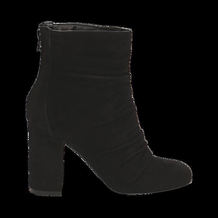 Ankle boots neri in camoscio, tacco 10 cm , Stivaletti, 14D601211CMNERO035