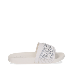 Zeppe bianche in pvc con catene, Primadonna, 112028208EPBIAN039, 001a
