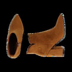 Ankle boots cuoio in microfibra, tacco 9 cm , Primadonna, 162709165MFCUOI036, 003 preview