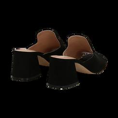 Mules nere in microfibra, tacco a trapezio 6 cm, Primadonna, 132707565MFNERO036, 004 preview