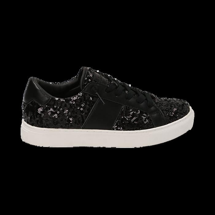 Zapatillas color negro con lentejuelas , Primadonna, 162619071PLNERO035