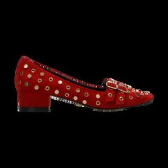 Décolleté rosse a mocassino nere con borchiette, tacco 3 cm, Scarpe, 124952202MFROSS, 001 preview