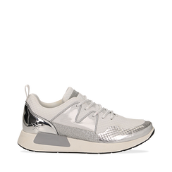 Sneakers bianche in tessuto tecnico dettagli glitter, Scarpe, 132619190TSBIAN035, 001a