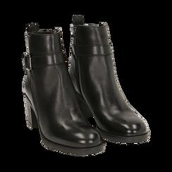 Ankle boots neri in pelle di vitello, tacco 6,50 cm , Primadonna, 16D808225VINERO038, 002 preview