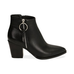 Ankle boots a punta neri, tacco 7,50 cm , Primadonna, 160598319EPNERO035, 001 preview