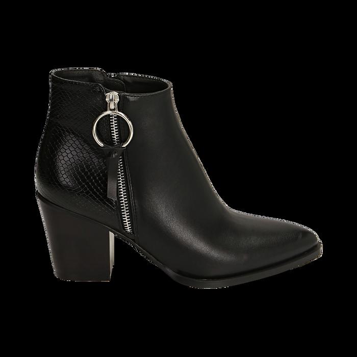 Ankle boots a punta neri, tacco 7,50 cm , Primadonna, 160598319EPNERO035