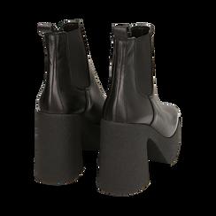 Ankle boots con plateau neri in pelle di vitello, tacco 11 cm , Primadonna, 160202020VINERO040, 004 preview