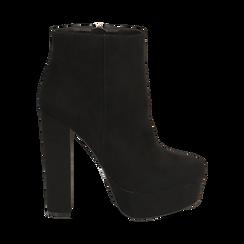 Ankle boots con plateau neri in microfibra, tacco 13,5 cm , Stivaletti, 142138410MFNERO035, 001a