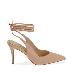 Slingback lace-up nude, tacón 9 cm, Zapatos, 172106620EPNUDE036, 001a