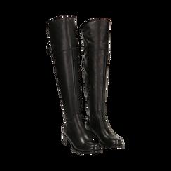 Overknee neri in pelle di vitello, tacco 3,5 cm , Stivali, 14A200150VINERO036, 002 preview