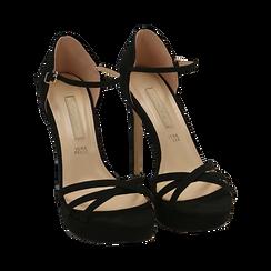 Sandali neri in microfibra, tacco 12,50 cm, OUTLET, 152118123MFNERO040, 002 preview