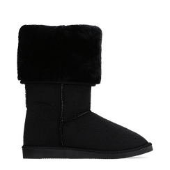 Scarponcini invernali scamosciati neri con risvolto in eco-fur, Scarpe, 125001204MFNERO036, 001a