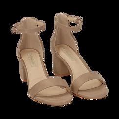 Sandali beige in microfibra, tacco 5,50 cm, Scarpe, 152707031MFBEIG035, 002a