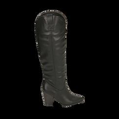Camperos neri in eco-pelle , Stivali, 140598101EPNERO035, 001a