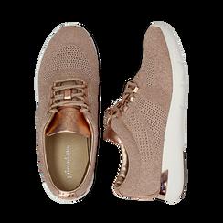 Sneakers rosa in tessuto glitter, Scarpe, 133020229GLROSA036, 003 preview