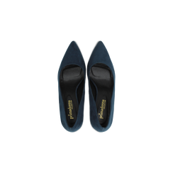 Décolleté scamosciate blu con punta affusolata, tacco medio 7,5 cm, Scarpe, 122111552MFBLUE, 004 preview