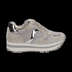 Sneakers grigie in microfibra con maxi-suola platform, Scarpe, 132899261MFGRIG036, 001 preview