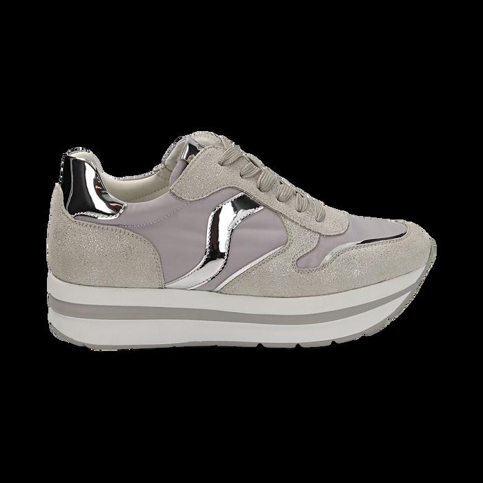 Sneakers grigie in microfibra con maxi-suola platform, Scarpe, 132899261MFGRIG036