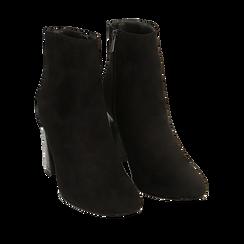 Botines negro en microfibra, tacón 8,5 cm, Primadonna, 164953691MFNERO036, 002a