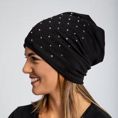 Berretto invernale nero in tessuto con strass, Saldi Abbigliamento, 12B490741TSNERO3XL, 002