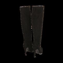 Overknee neri in microfibra, tacco 11,5 cm , Stivali, 142160055MFNERO041, 003 preview