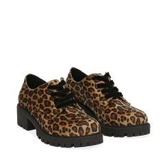 Stringate leopard in eco-cavallino , Scarpe, 140585669CVLEMA035, 002a
