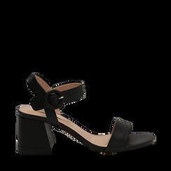 Sandali neri in eco-pelle, tacco trapezio 6 cm , Scarpe, 132707569EPNERO035, 001a