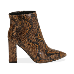 Ankle boots marroni in eco-pelle stampa pitone, tacco 9,5 cm , Primadonna, 142186672PTMARR036, 001 preview