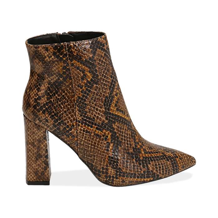 Ankle boots marroni in eco-pelle stampa pitone, tacco 9,5 cm , Primadonna, 142186672PTMARR035