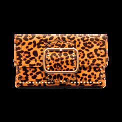 Pochette Leopardata con Borchie Oro Morbida,