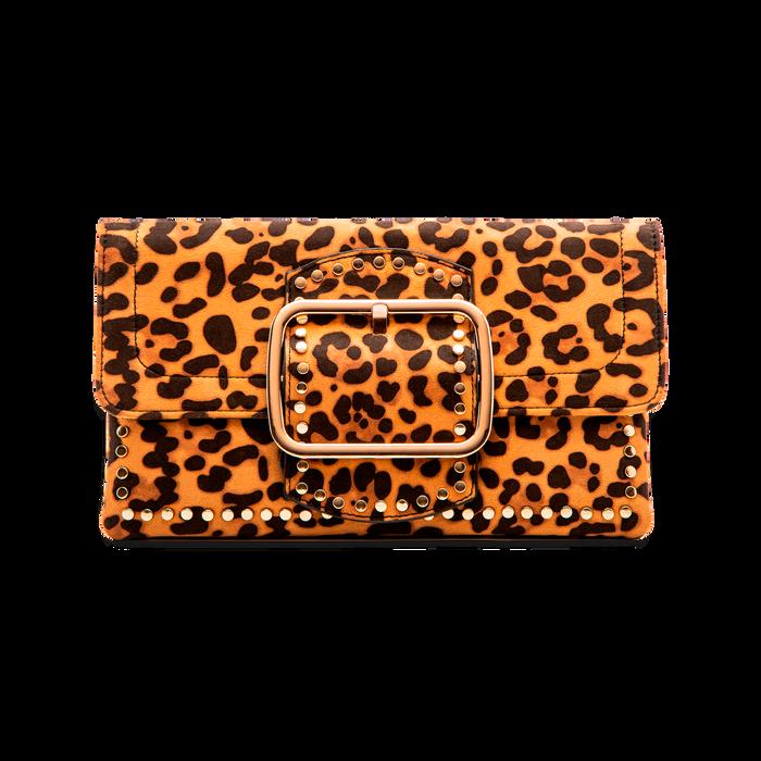 Pochette Leopardata con Borchie Oro Morbida, Borse, 123308722MFLEOPUNI