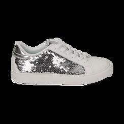 Sneakers argento  con paillettes, Scarpe, 152602021PLARGE035, 001a