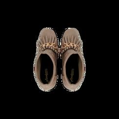 Tronchetti taupe con catena e frange, tacco 9,5 cm, Scarpe, 122186592MFTAUP, 004 preview