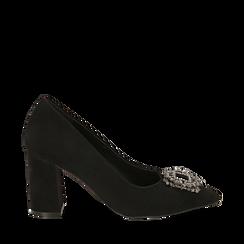 Décolleté nere in microfibra con fibbia gioiello, tacco 8 cm , Scarpe, 144941191MFNERO035, 001a
