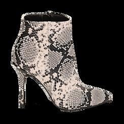Ankle boots beige/neri effetto snake, tacco 11 cm , Stivaletti, 142182015PTBENE035, 001a